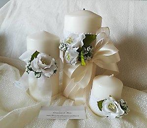 Bomboniera candele con fiori e merletto cod. 66R - 66R1 - 66R2