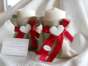 Bomboniera shabby chic laurea cresima candela con sacchetto cod. 41S