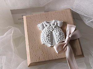 Bomboniera battesimo scatole con tutina cod. 20a - 20a1