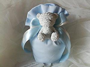 Bomboniera Battesimo con orso sacchetto portaconfetti grande cod. 104B