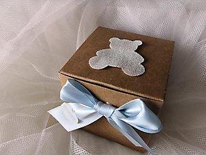 Bomboniera battesimo scatola con confettata e orsetto cod. 168B1 - 168B2 - 168B3