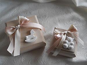 Bomboniera Battesimo scatola con orso e cuore e cavalluccio cod. 57B - 57B1