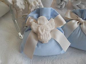 Sacchetto in piquet con calamita angelo in ceramica cod. 6P