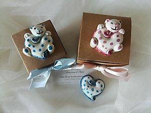 Bomboniera scatola con confettata e cuoricini con orso cod 80P