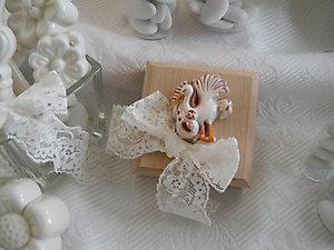 Bomboniera battesimo con cicogna scatole in legno cod 58P