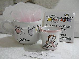 Bomboniera Battesimo vasetto in ceramica per piantine cod. 25P