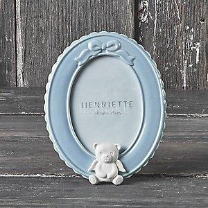 Bomboniera battesimo  porta foto con orso in porcellana  cod. 26P