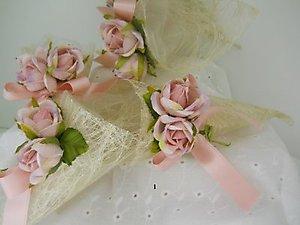 Bomboniere matrimonio comunione cresima coni riso con fiore cod. 26H linea fiori matrimonio NOVITA'