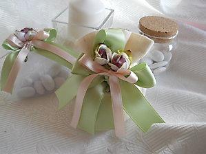 Bomboniere comunione cresima matrimonio sacchetto con nastri e fiore - cod. 36H