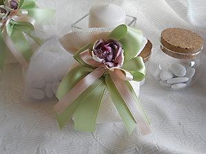 Bomboniere comunione matrimonio cresima sacchetto con nastri e fiore - cod. 37H NOVITA'