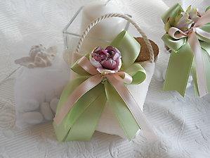 Bomboniere comunione cresima matrimonio sacchetto borsetta con nastri e fiore cod. - 30H