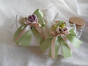 Bomboniere matrimonio cresima comunione sacchetto con nastri e fiore - cod. 38H  39H