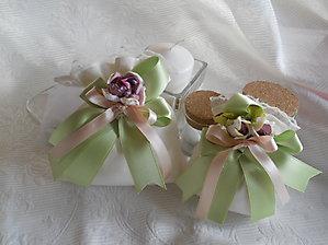 Bomboniere comunione cresima matrimonio sacchetto con merletto doppio nastro e fiore - cod. 40H  41H