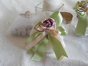 Bomboniere matrimonio comunione cresima sacchetto in tessuto tipo tulle con  nastri e fiore - cod. 33H  34H  35H