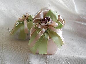 Bomboniere comunione cresima matrimonio sacchetto in raso con nastri e fiore - cod . 42H NOVITA'