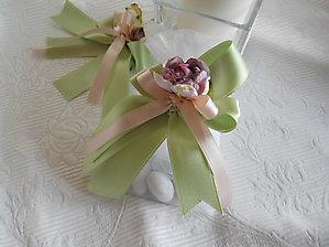 Bomboniere comunione matrimonio cresima sacchetto organza con  nastri e fiore cod. 43H