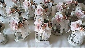 Bomboniera lanterna con fiori matrimonio - comunione - cresima cod. 18H1-