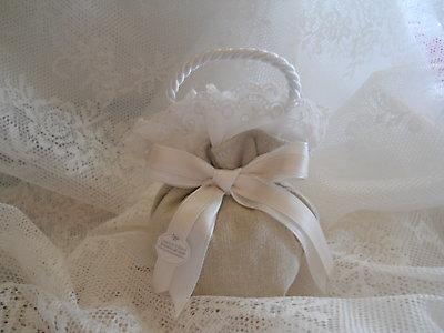 Bomboniere per matrimonio comunione cresima sacchetto borsetta con pizzo sangallo cod. 30N