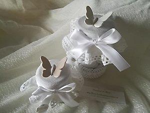 Bomboniera Comunione matrimonio enogastronomiche barattolo con confetti e farfalla cod. 98R - 98R1