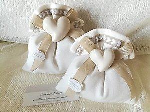 Bomboniera  Comunione matrimonio sacchetto con cuore cod. 78G - 78G1