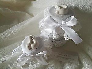 Bomboniera matrimonio comunione cresima barattolo con confetti e lettera in ceramica cod. 31G - 32G