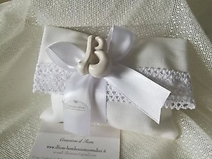 Bomboniera   comunione matrimonio sacchetto con lettera in ceramica cod. 33G-34G