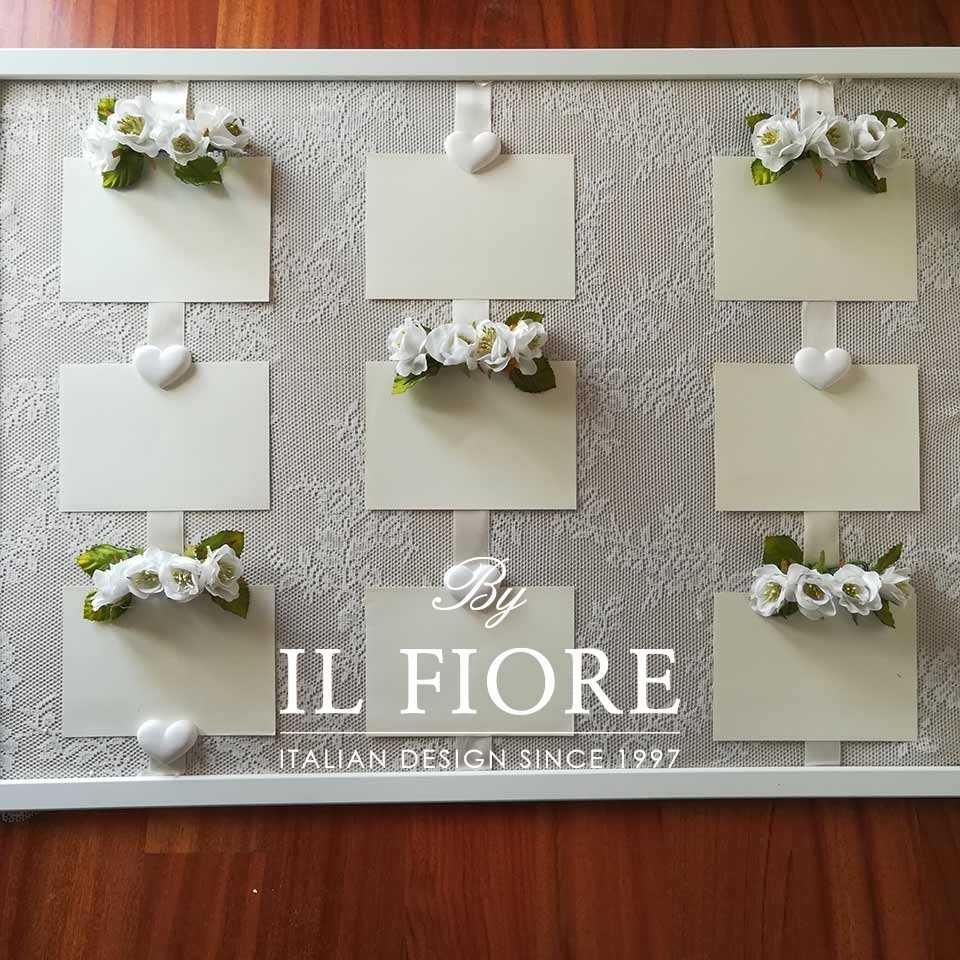 Tableau Tableau Tableau Tableau per Matrimonio con Fiori, Pizzo e Cuori