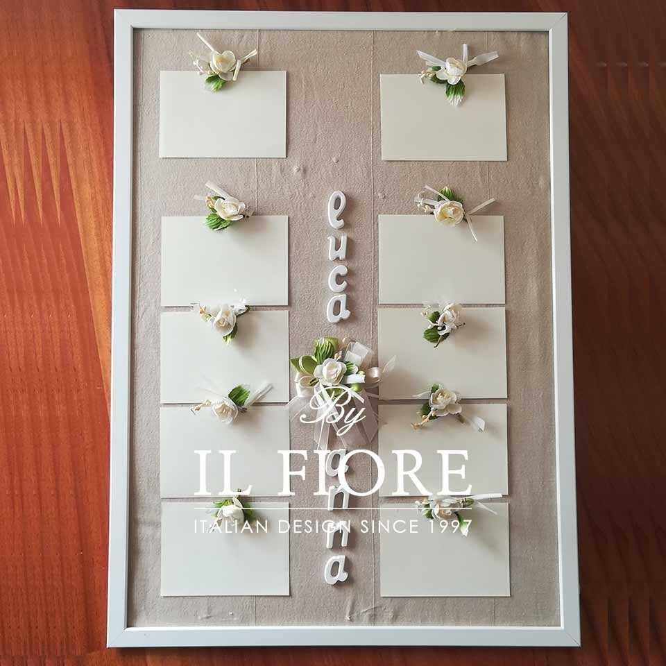 Tableau Tableau Tableau Tableau de Mariage, Cresima Comunione con Nomi e fiori