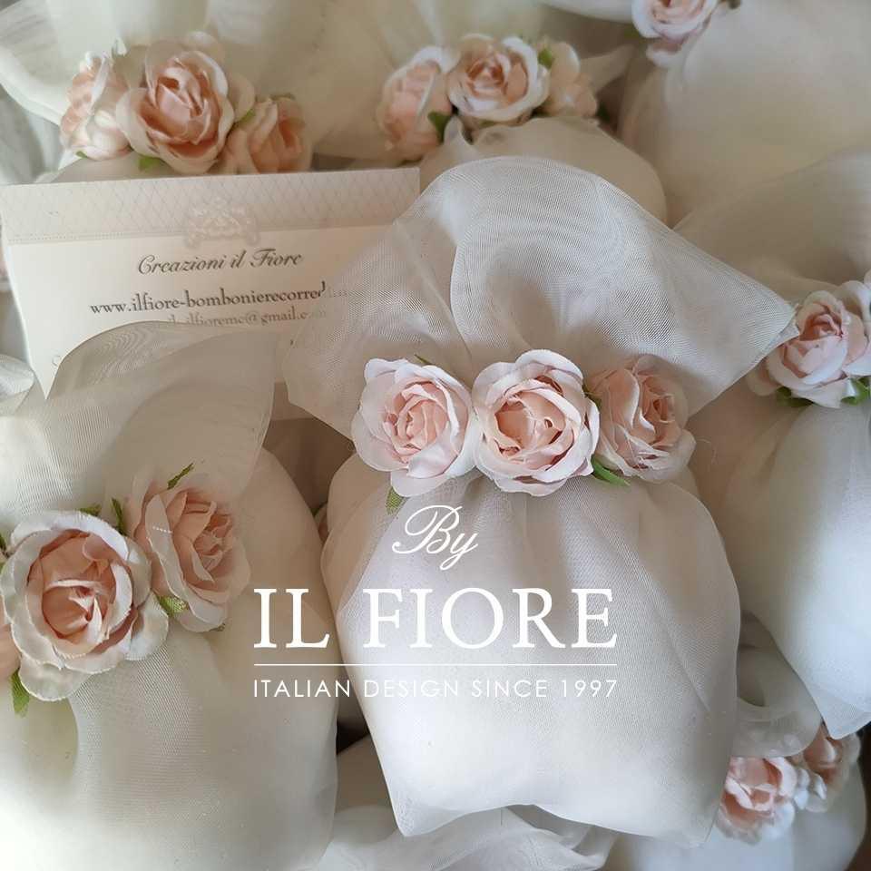Bomboniere Matrimonio Comunione Sacchetto Portaconfetti con fiori