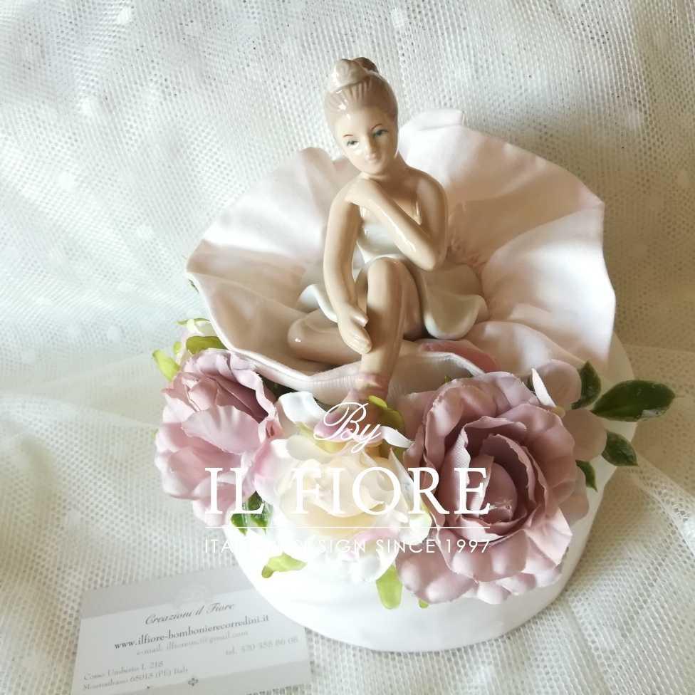Bomboniere Bambole Bambole Bomboniera Cresima e Comunione sacchetto pouf grande con ballerina in ceramica.