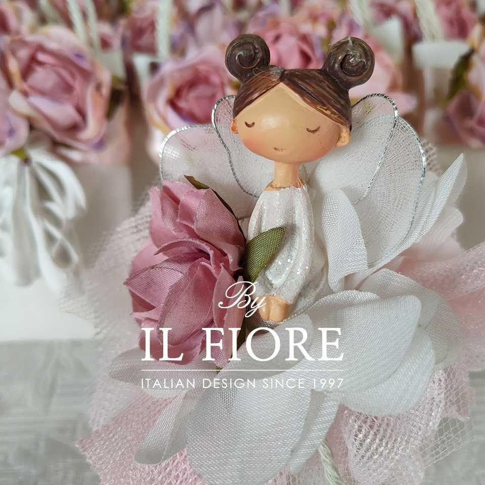 Bambola Comunione e Cresima sacchetto portaconfetti rosa e fiori