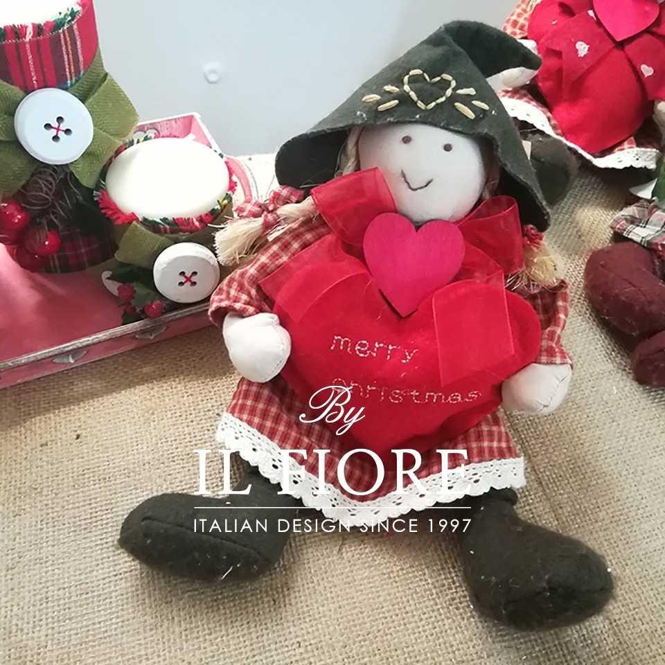 Creazioni Natale Pallina Natale Angelo Natalizio decorazione albero di Natale con cuore rosso