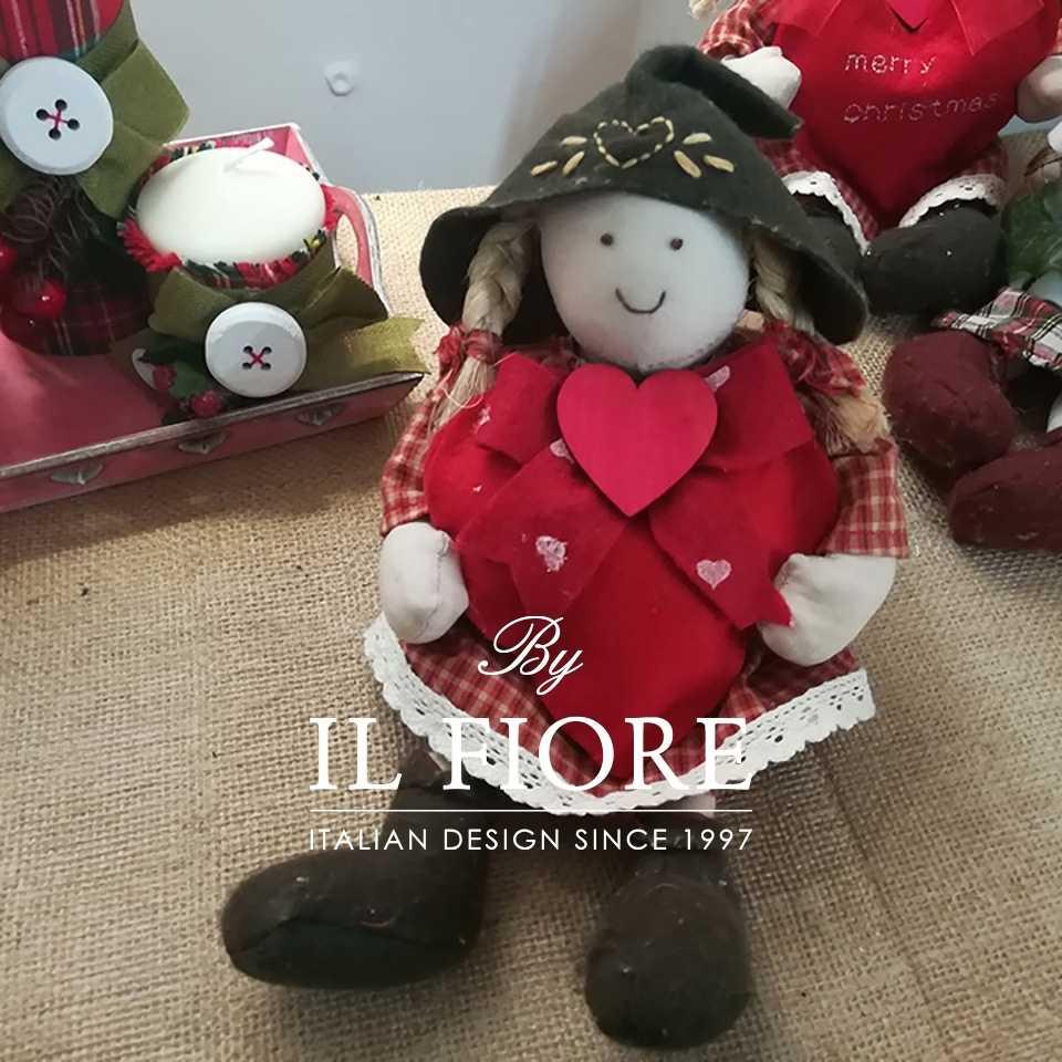 Creazioni Natale Pallina Natale Angelo Natalizio decorazione albero di Natale con cuore rosso e fiocco