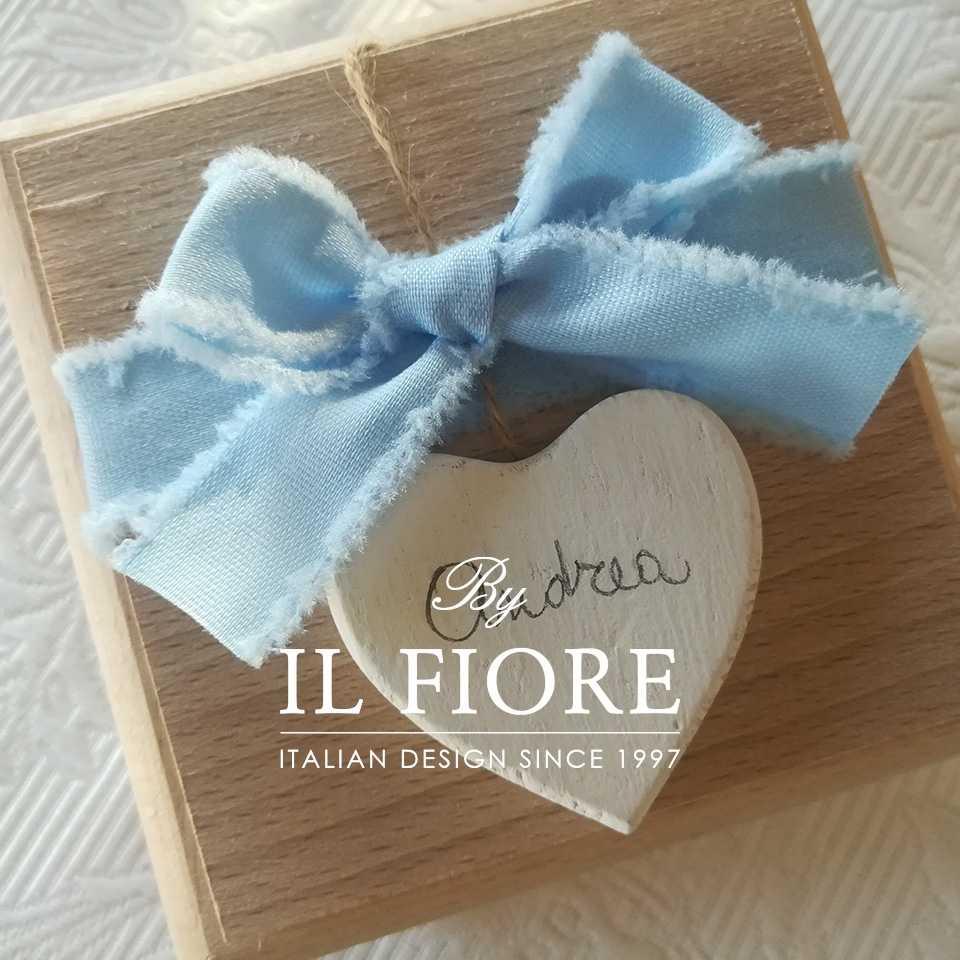Bomboniera Battesimo scatola con cuore di legno personalizzabile