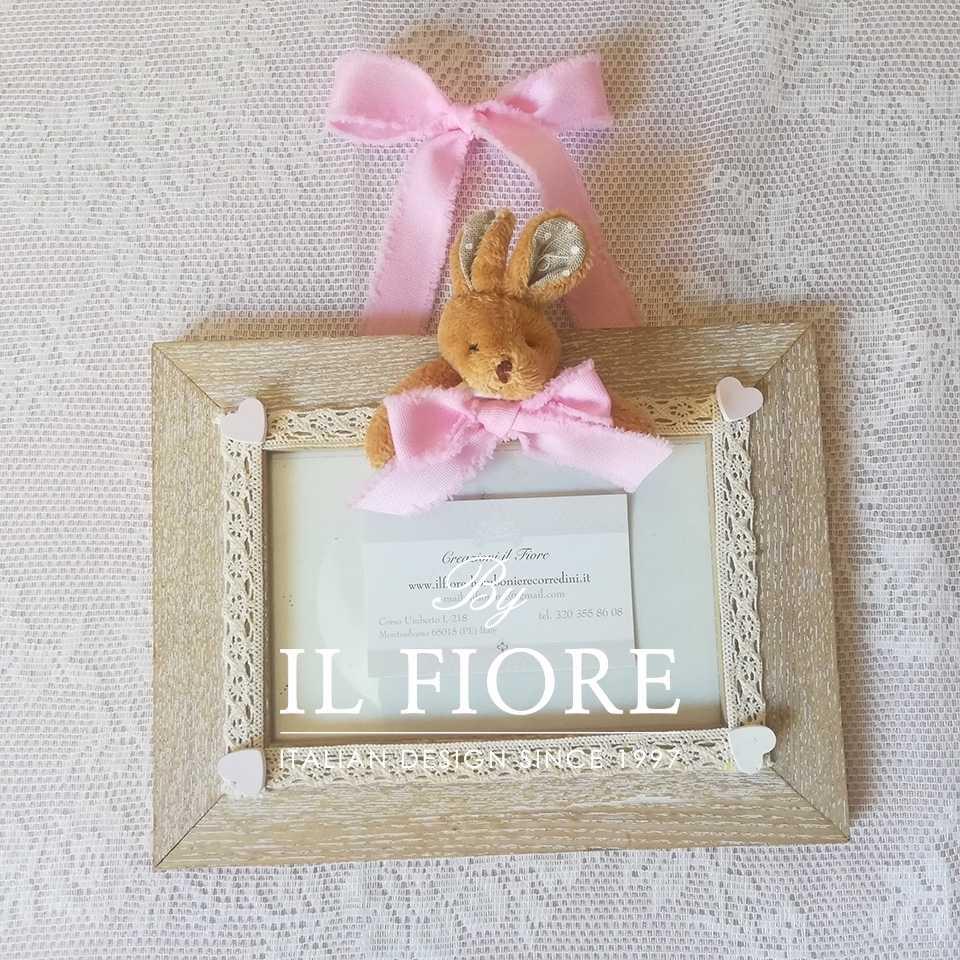 Portafoto Portafoto bimba e bimbo con cuoricini in gesso e coniglietto articolo da regalo