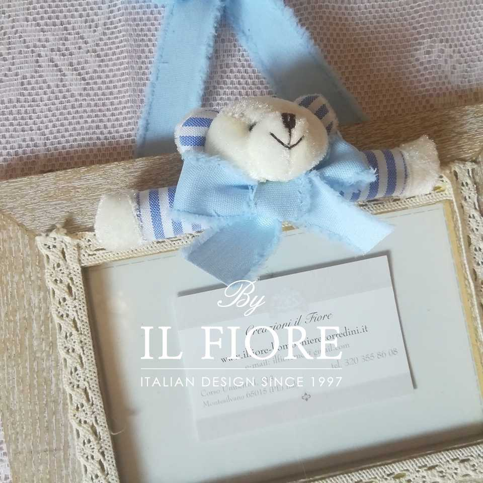 Portafoto bimbo e bimba con orsetto  e merletto articolo da regalo