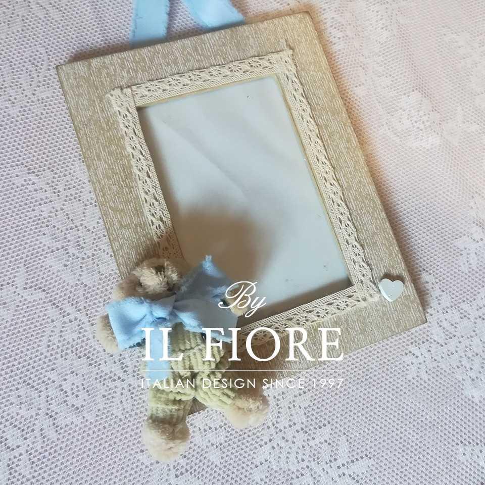 Portafoto Portafoto bimbo e bimba con orsetto e merletto articolo da regalo