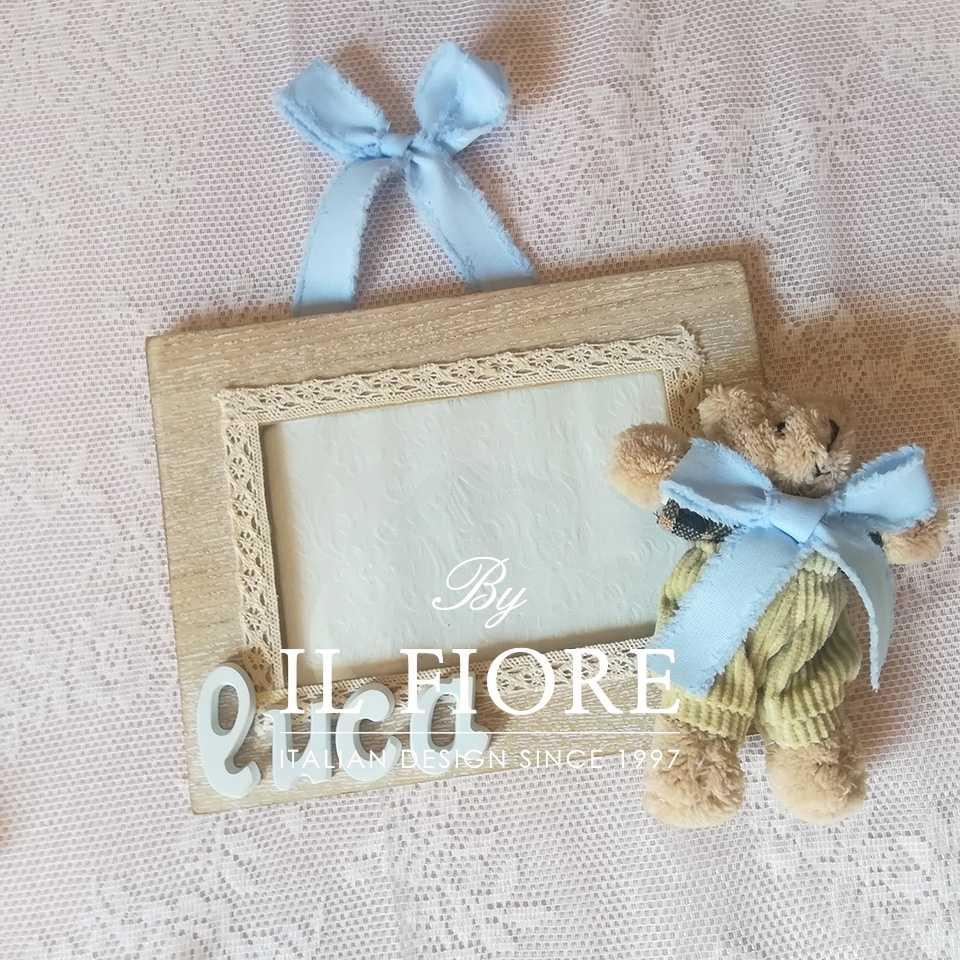 Portafoto bimba e bimbo con cuoricini in gesso e coniglietto articolo da regalo
