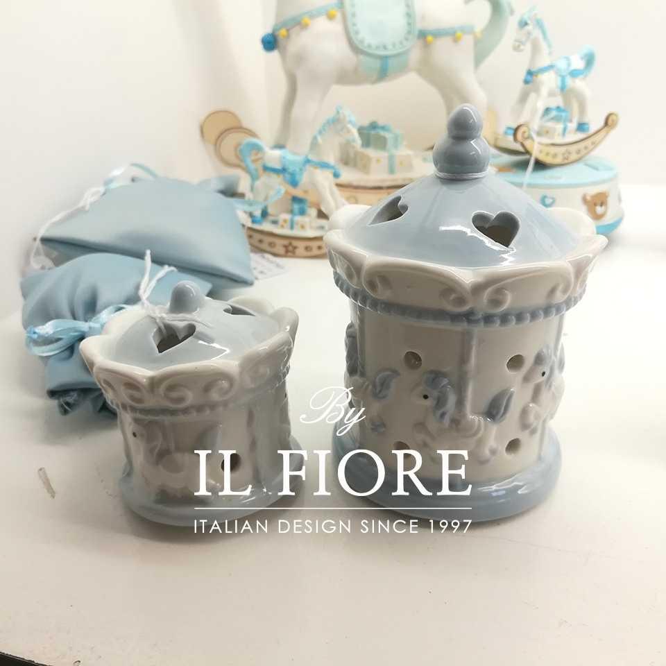 Bomboniere Battesimo Ceramica Ceramica Bomboniera Battesimo giostrina con luce led in Ceramica