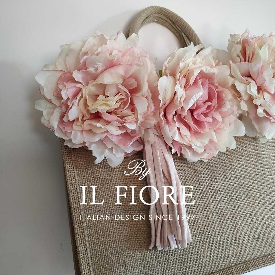 Borse in juta con fiori e nappina Bag donna