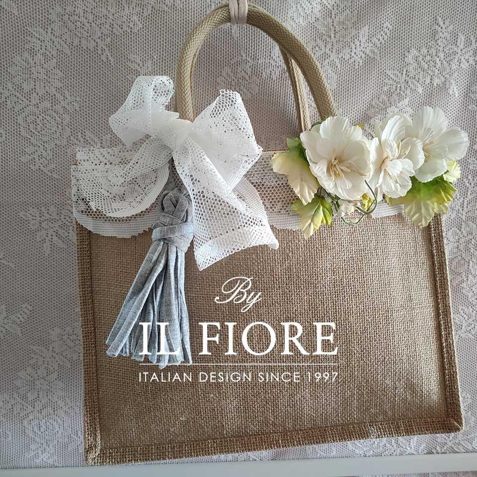 Collezione Moda Borse e cappelli Borse in juta con pizzo fiori e nappina Bag donna