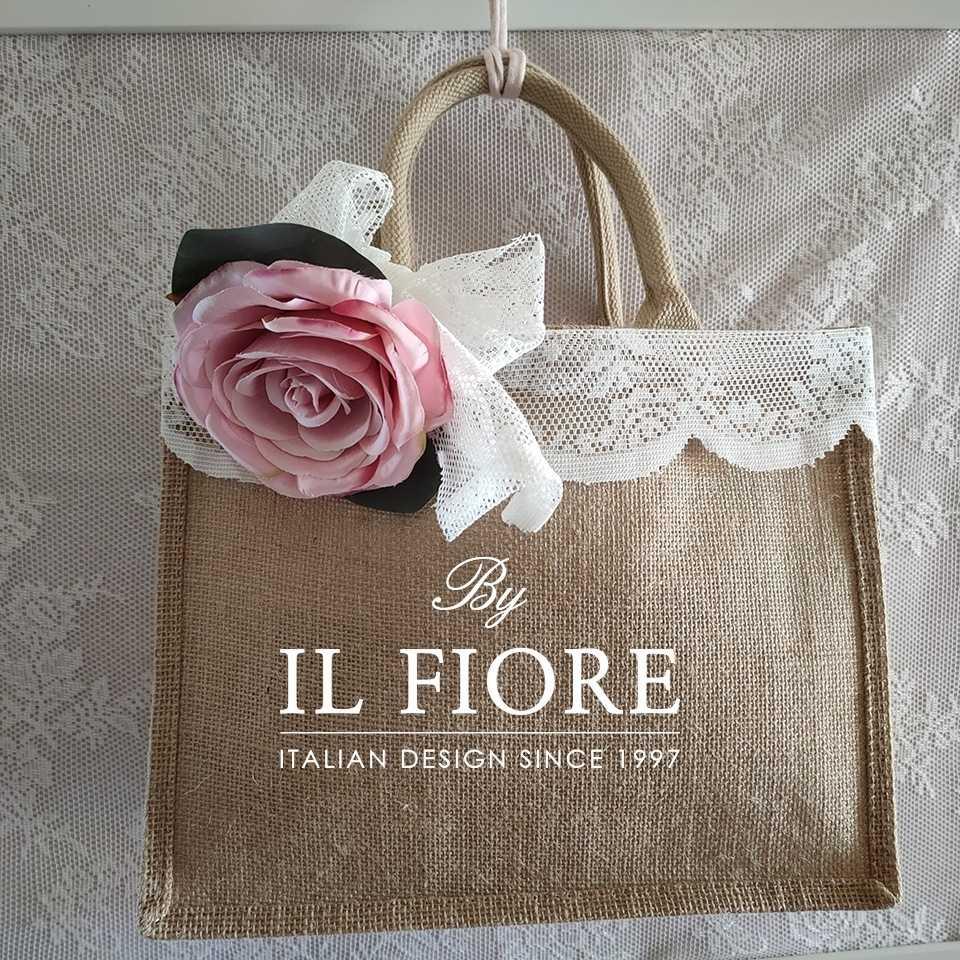 Collezione Moda Borse e cappelli Borsa in juta con pizzo e fiore Bag donna