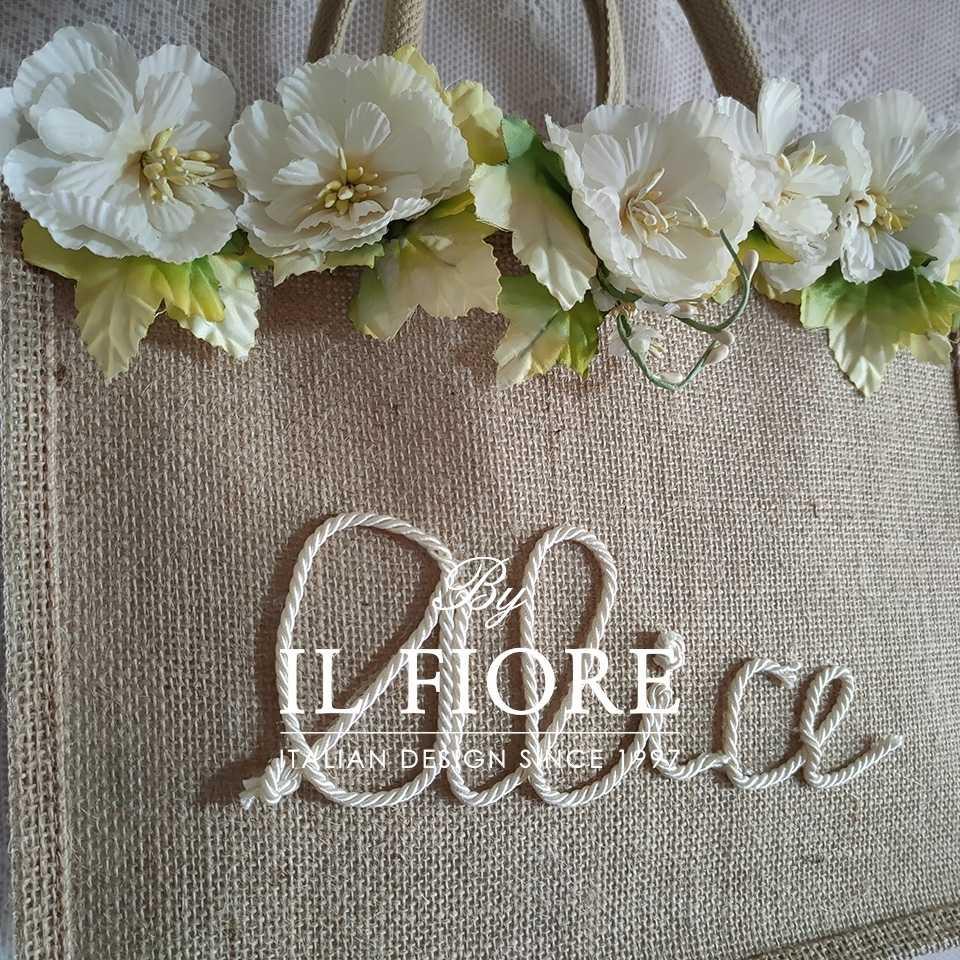 Borse in juta con nome personalizzabile e fiori Bag donna