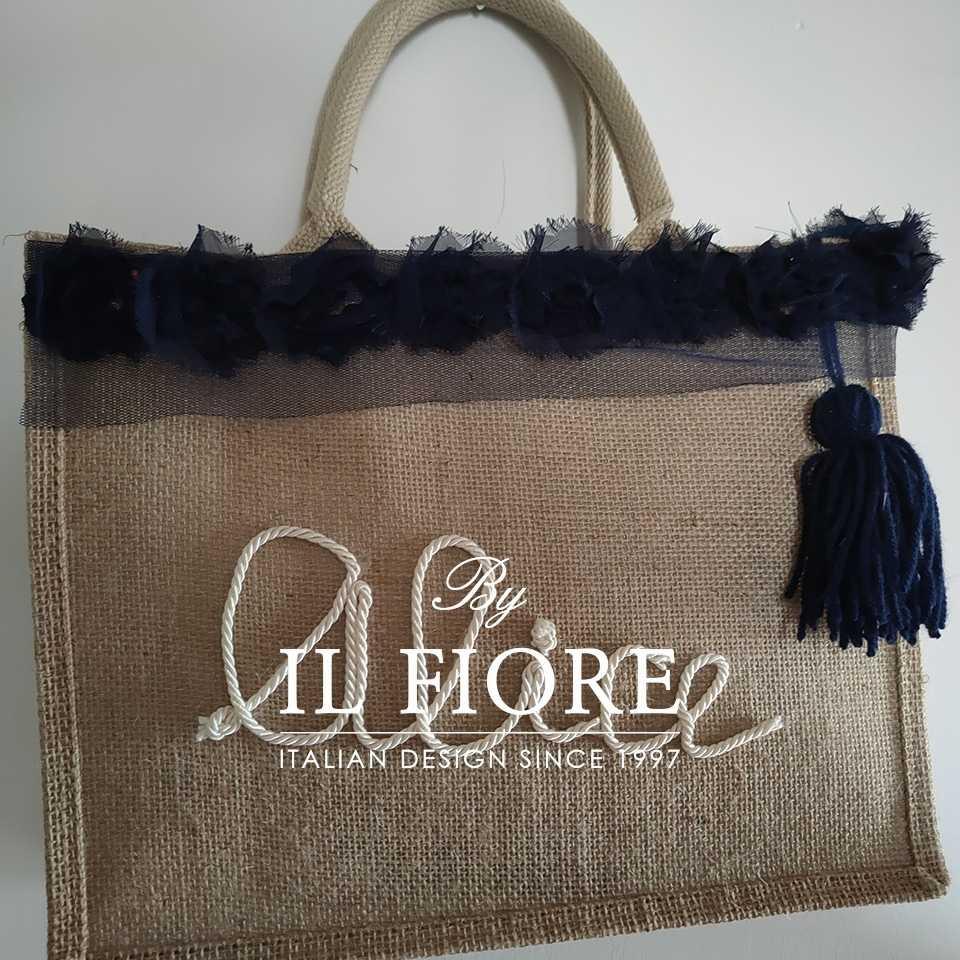 Collezione Moda Borse e cappelli Borse donna con nome personalizzabile e fiori in organza blu Bag donna