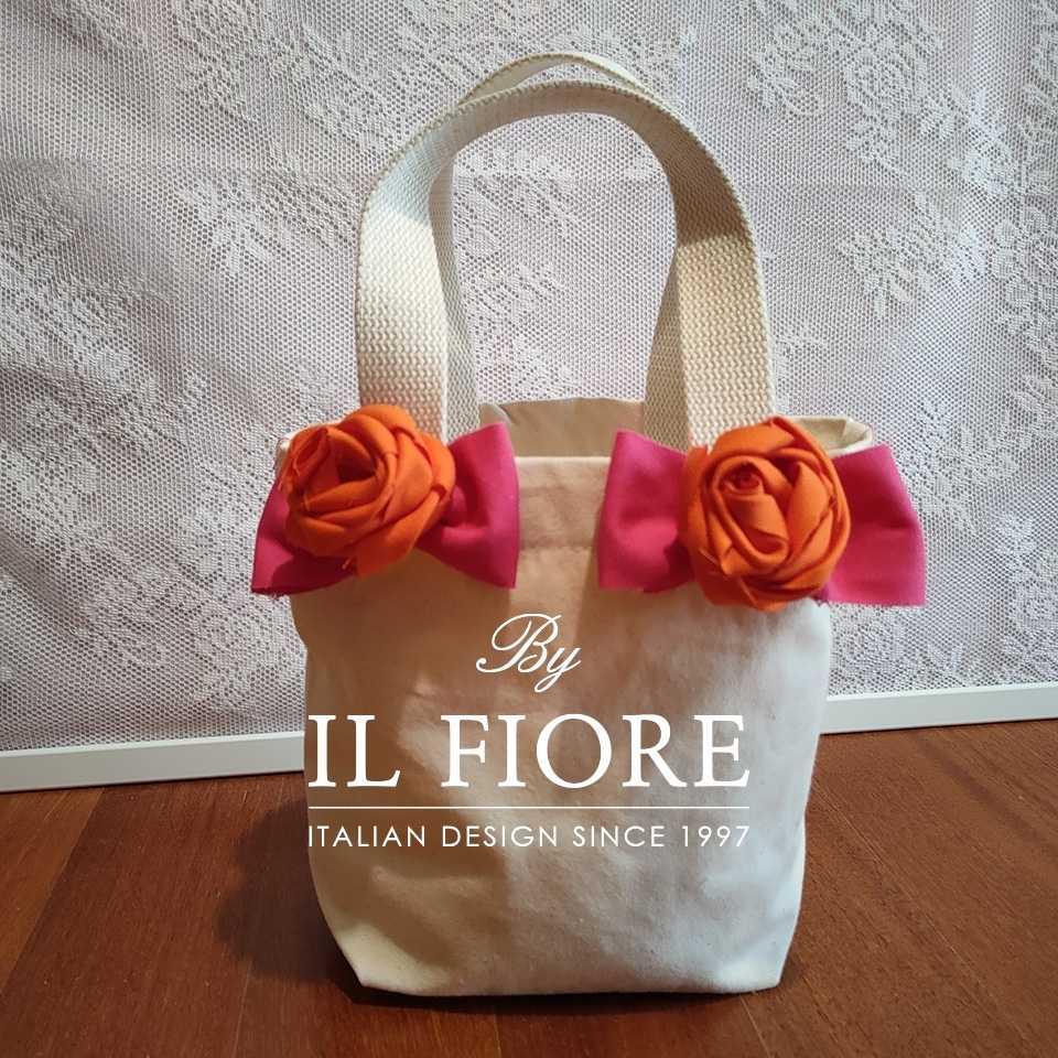 Collezione Moda Borse e cappelli Borse donna fiori di stoffa e fiocchi fucsia Bag donna