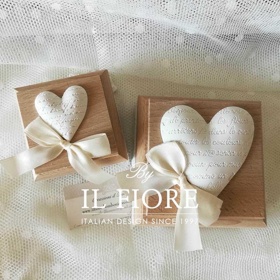 """Bomboniere matrimonio scatola in legno con Cuore Bomboniera scatola in legno con gessetto """"Cuore"""""""