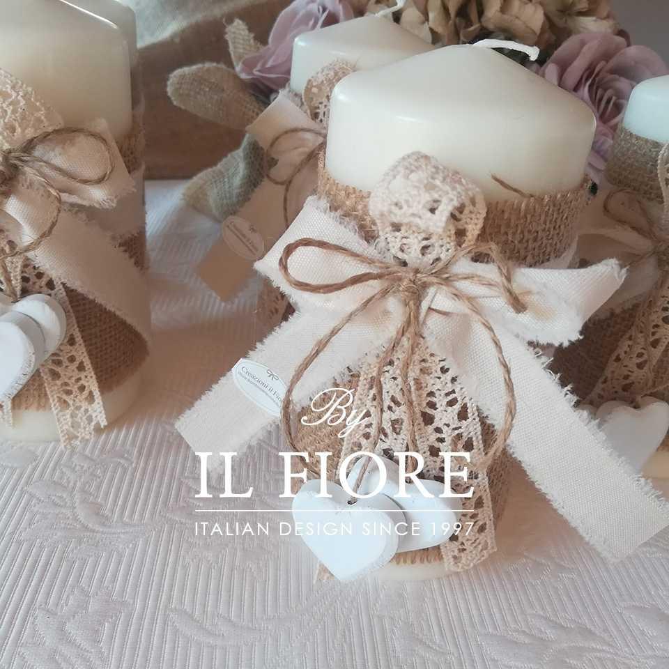Bomboniera Shabby Chic candela Cuori legno