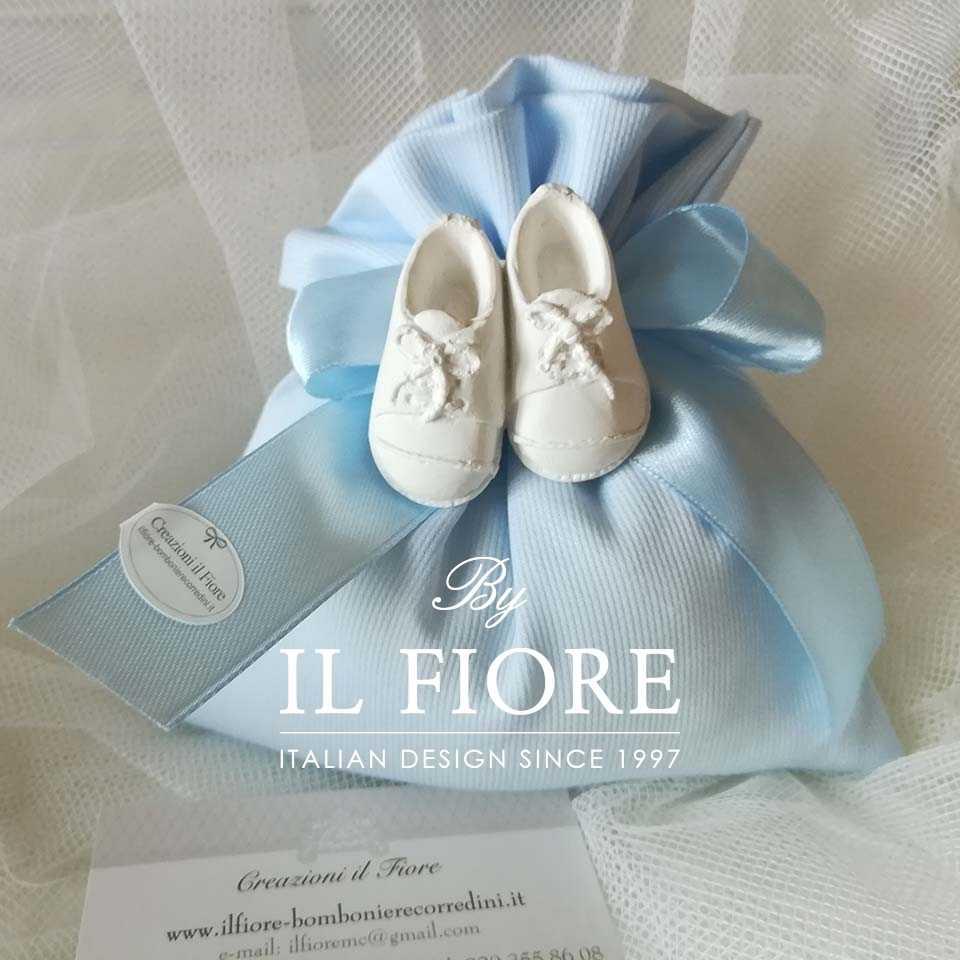 Bomboniera Battesimo Bimbo portaconfetti con scarpette