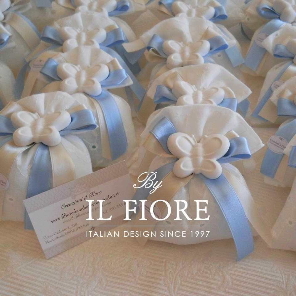 Bomboniera Battesimo sacchetto portaconfetti con farfalla.