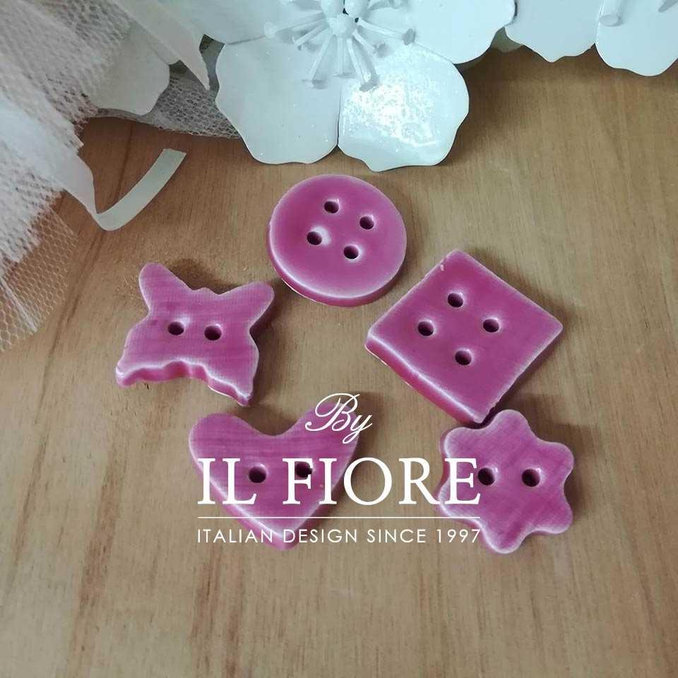 Ceramica - Set bottoni rosa
